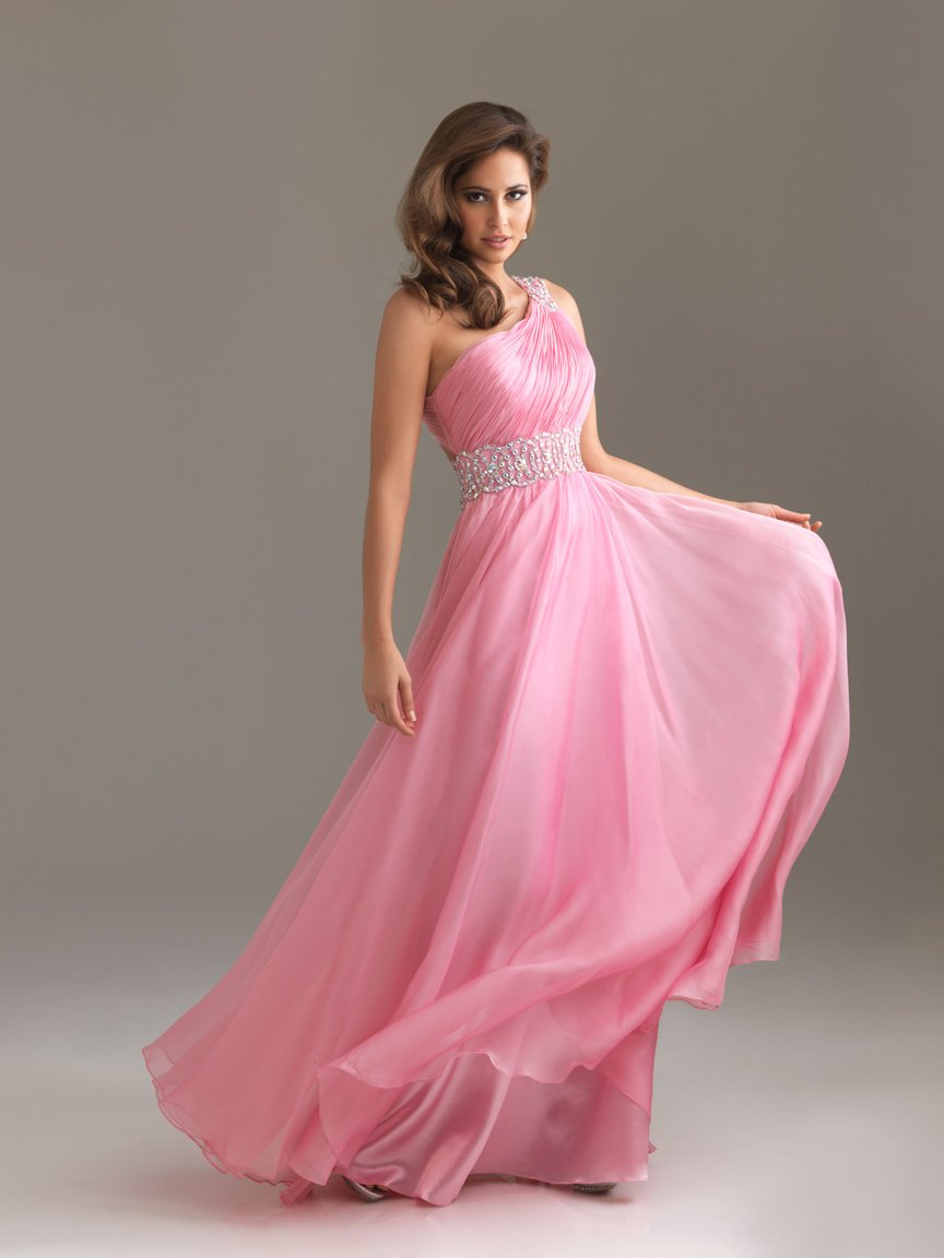 Pink A-Line One Shoulder Backless Floor Length Celebrity Dresses With Sequined and Draped