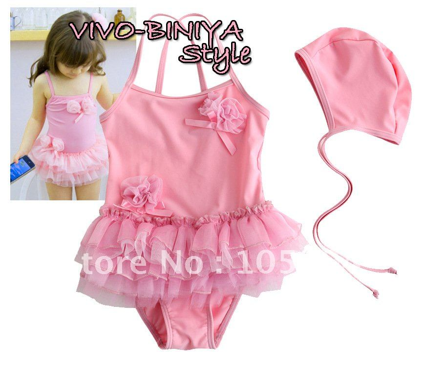 PINK girls swimsuit girls One-piece flowers swimwear + hat Bikinis baby kids swimwear