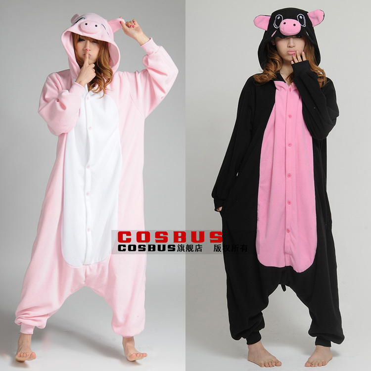 pink pig black piganimal one piece sleepwear lovers lounge cartoon pajamas lover`s clothes plus size