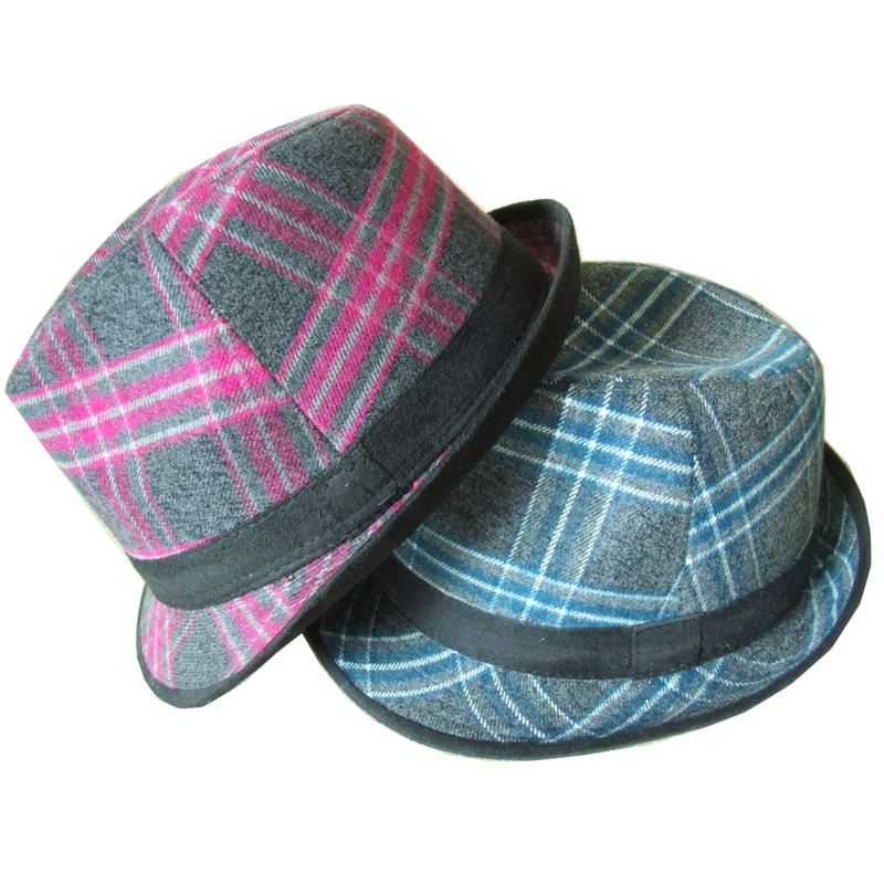 Plaid hat autumn check fedoras general woolen autumn and winter fashion hat