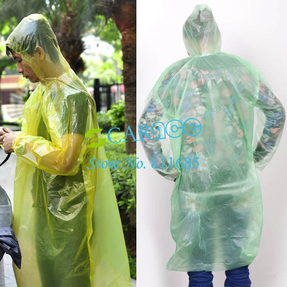 Plastic PE 2 PCS Travel rain coat disposable rain poncho Emergency Waterproof Raincoat 4 color 6648