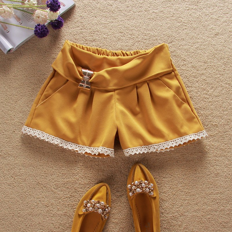 Pleated lace decoration bow decoration casual shorts 2012 summer women's hot trousers