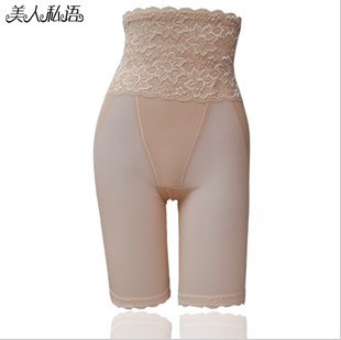 Plus size high waist lace abdomen drawing pants high waist thin 111b leg pants