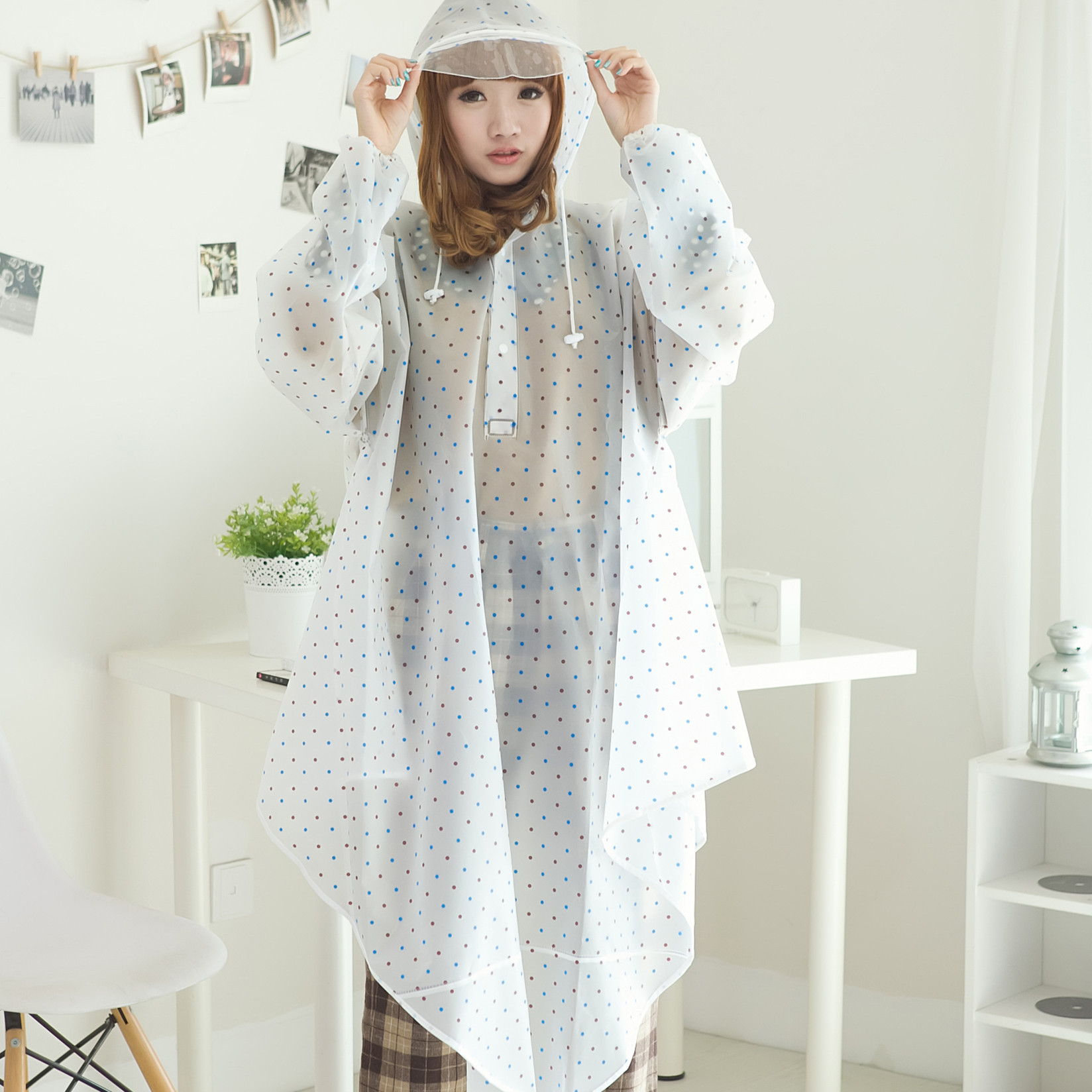 Polka dot eva transparent big hat brim with sleeves bicycle electric bicycle battery car raincoat poncho