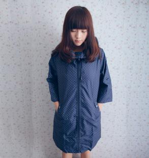 Polka dot fashion raincoat trench turtleneck wrist-length sleeve thin soft cap rope 9001-r