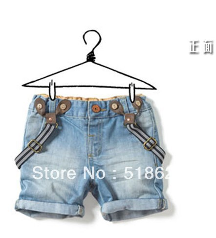popular high quality children denim overalls, kids fashion short jeans trousers 5pcs/lot wholesale promotion free shipping