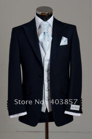 Popular Navy Wedding Suits 2012  Custom Made Wedding Suits   Designer Weding Suits (Jacket+Pants+Vest+Tie+Kerchief)  241