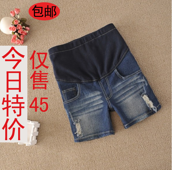 Pregnant wear Piti house maternity spring and summer denim shorts maternity shorts belly pants boot cut jeans 5860