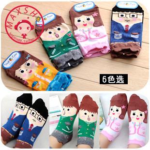 Promoting lovely family cotton sock slipper 6 members/ lot  kawaii sock stores online