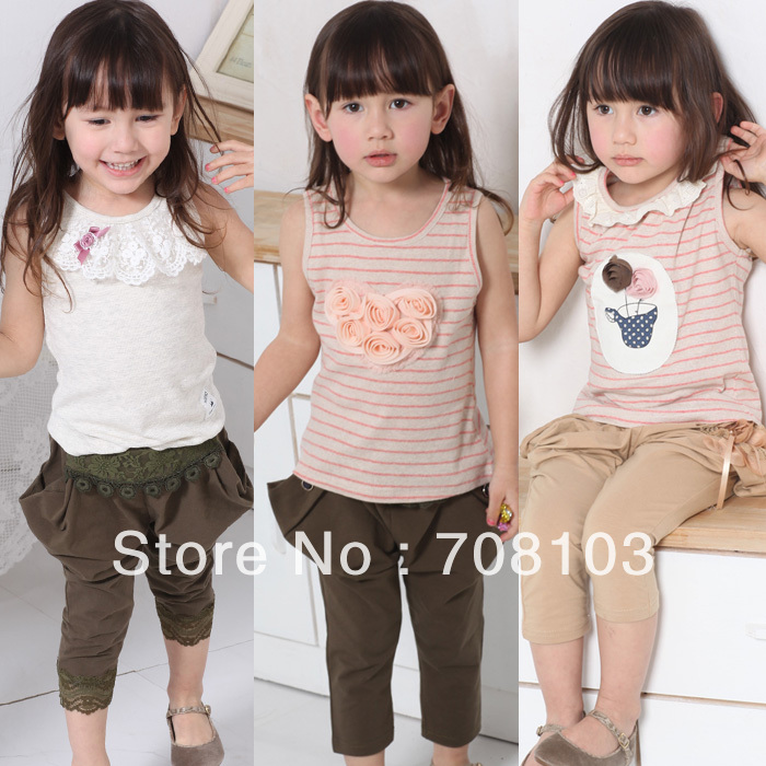 Promotion Free shipping children 2013 thread yarn dyed elastic vest for 2-6years t shirt