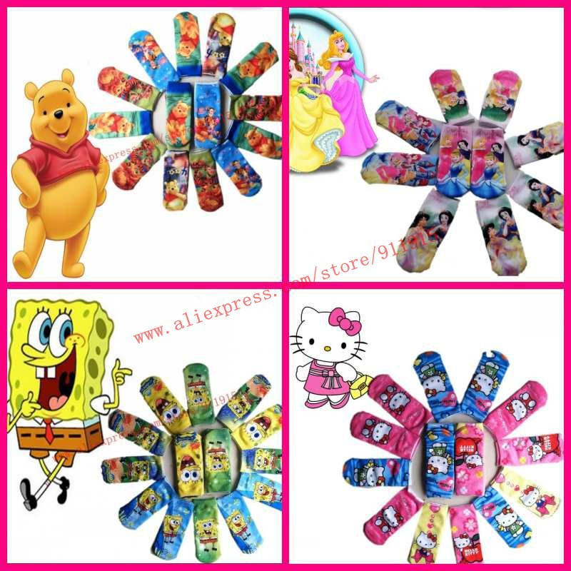 promotion Free Shipping  children kitty/mickie/bear/superman/smurf/bob socks Cute Cartoon Infant Baby Sock Multicolor print sock