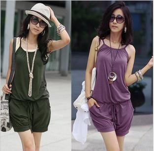 Promotion!!Free Shipping~Women Fashion Sleeveless Romper Strap Short Jumpsuit Scoop 3 Colors free shopping #112