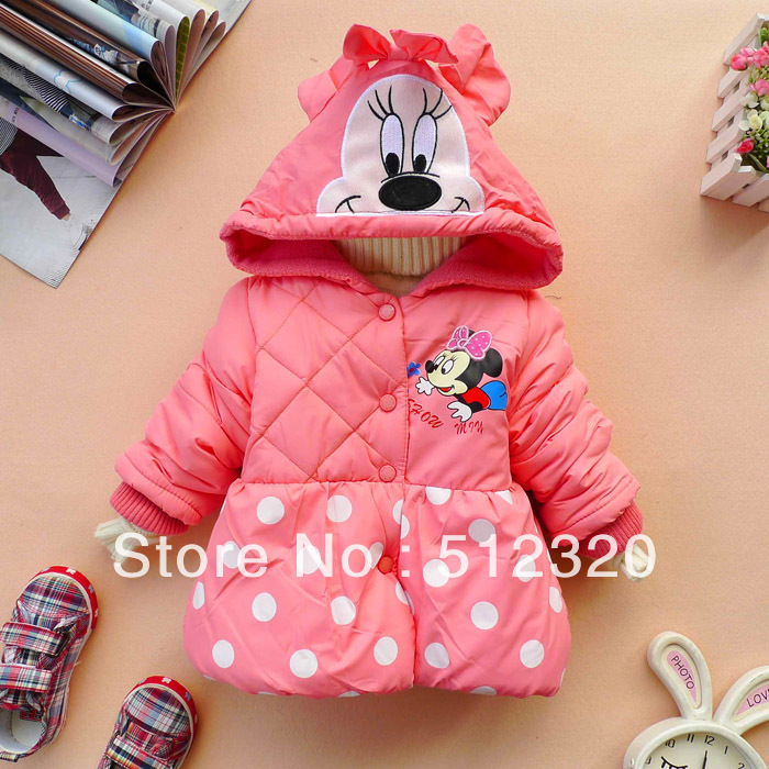 Promotion in stock Retail (1PC)  hot sale baby clothing girl's minnie mouse children clothing baby winter coat pink free shippng