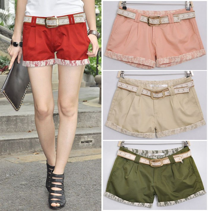 Promotion! Lowest Price! With Belt! Fashion Lace Cotton Shorts, Women Short Pants , Summer Shorts, Free shipping BK1909SK