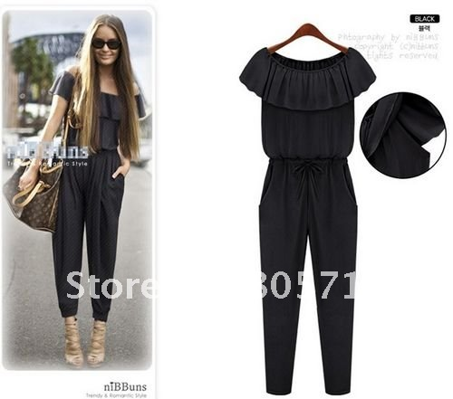 Promotion Sleeveless Chiffon Women's Fashion Jumpsuits Falbala Strapped Jump suit Lower Price Gifts