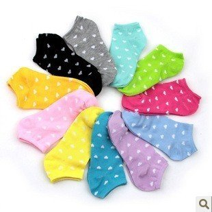 Promotion, sweet heart candy Boat socks,ankle socks,high quality!