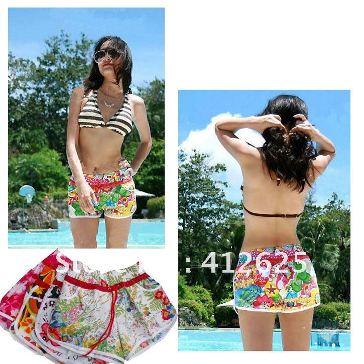 Promotions!!Fresshipping!!new fashion women hot floral shorts, leisure beach shorts,Hawaii shorts lady swimming trunks