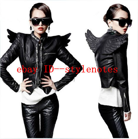 Punk Womens 3D Back Angel Wings Front Zips PU Faux Leather Close-fitting Jacket free shipping