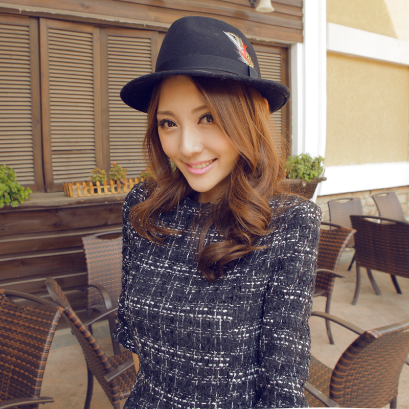 Pure woolen fashion feather bow vintage jazz hat roll up hem fedoras autumn and winter