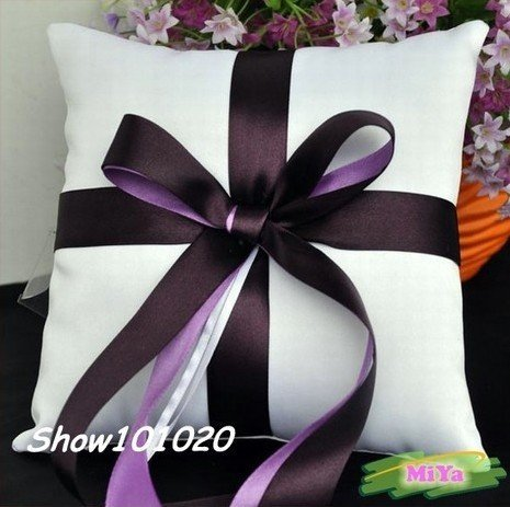 Purple Wedding White color Ring PIllow Cushion 20cmX20cm Free Shipping