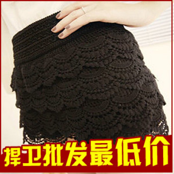 q8273 free shipping women's multi-layer lace cutout solid color sexy safety pants  fashion shorts skirt pants