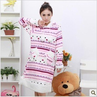 Qiu dong coral fleece hooded hedge nightgown female money long sleeve snow patch pocket leisure wear