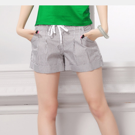 Quality fabric vertical stripe women's shorts straight pants preppy style lacing shorts