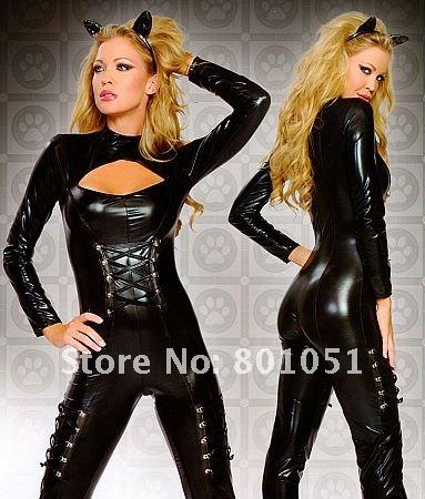 Queen of Felines Black Wetlook Catsuit Costume 2pcs set F39