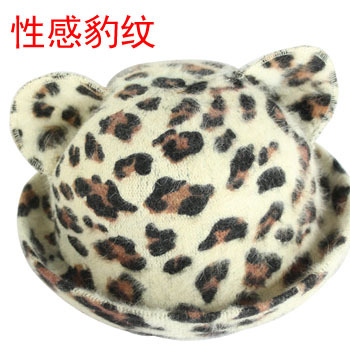 Rabbit fur cat ear hat sexy leopard print hat winter fashion