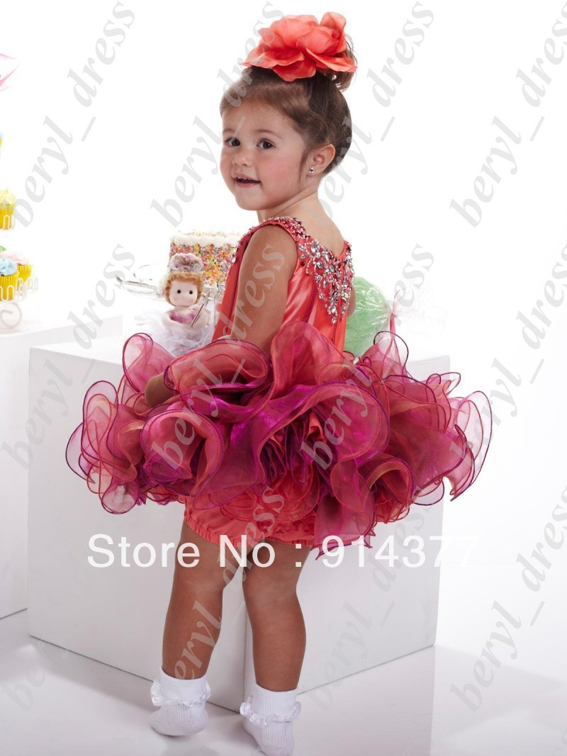 Real image ! New cute Ball Gown Elegant Organza Short  Cupcake Princess Flower Girl Pageant Dresses Charming Rhinestone Sequins