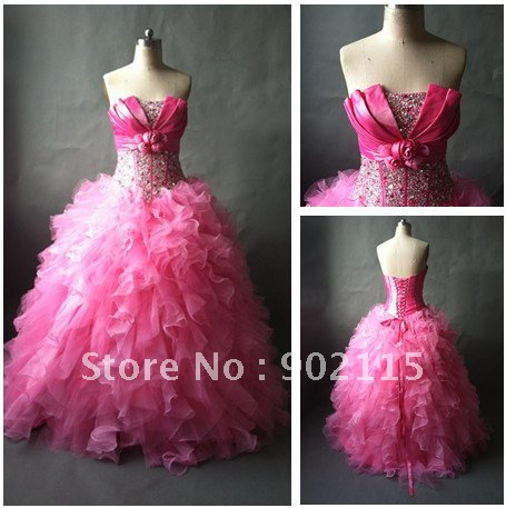 Real Sample! Prefered Sweetheart Beaded Strapless Pink Ball Gown Quinceanera Dress