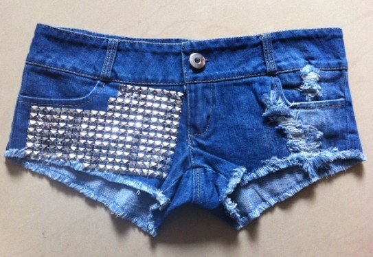 Recommend Low-waist worn-out + sequine jeans shorts, sale Sexy paillette shorts women for summer, free shipping