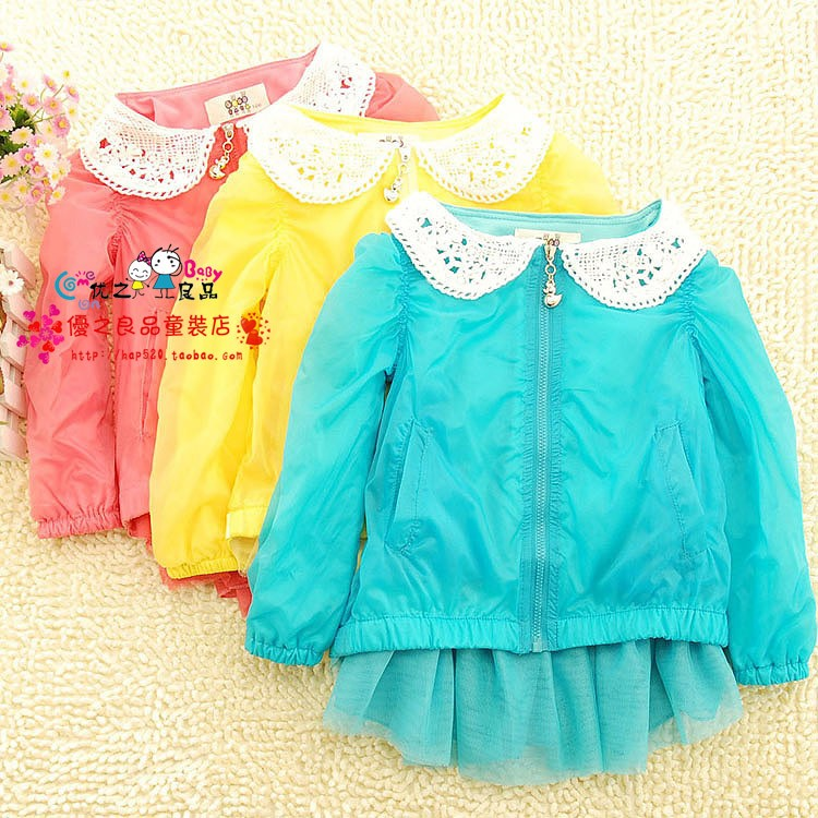 Recovers the outerwear children's clothing female child 2013 spring child baby sun protection clothing princess trench cardigan