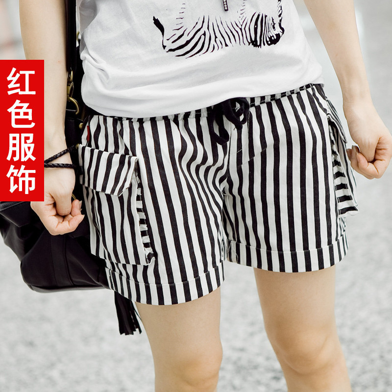 Red dress 2012 spring women's loose shorts straight pants 3064