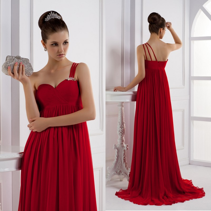 Red evening dress annual meeting of company formal dress one shoulder chiffon formal dress he03