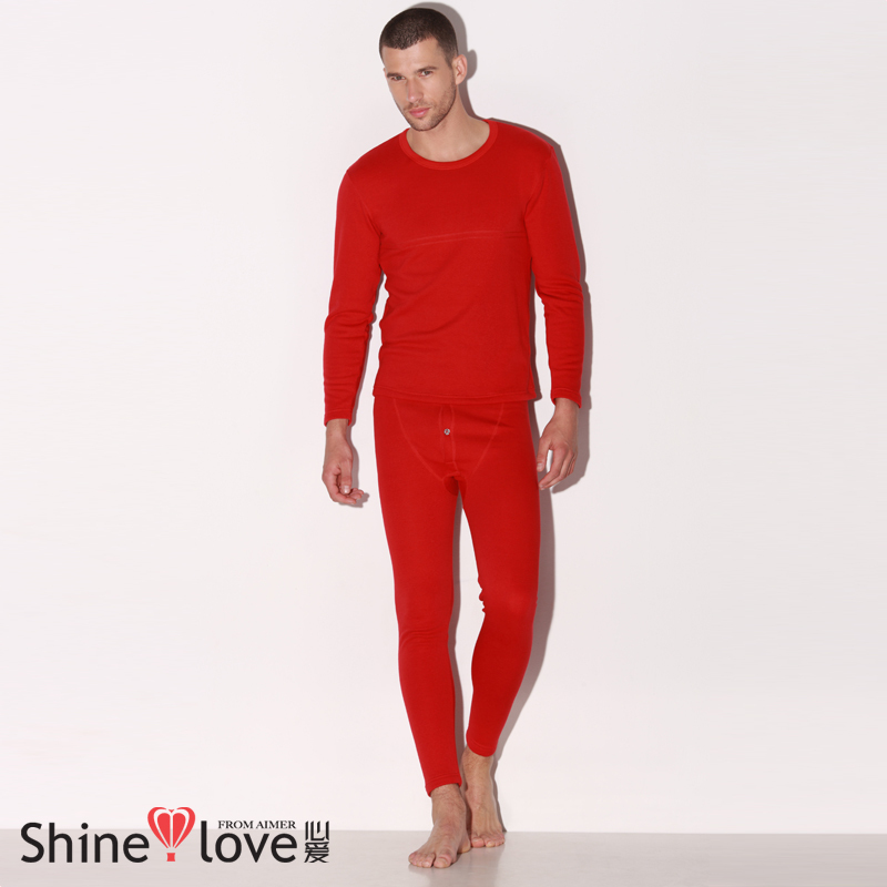 Red o-neck male thermal clothing set sn74301