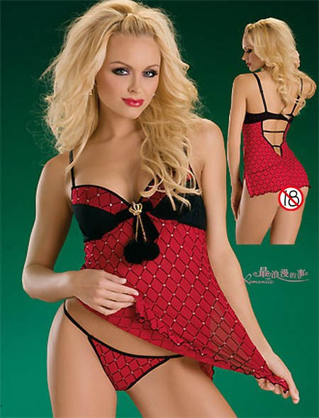 Red racerback shoulder strap V-neck sexy sleepwear diamond decoration belt pad 2183