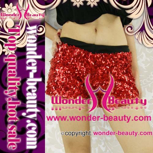 Red  sequin sexy short pants for lady