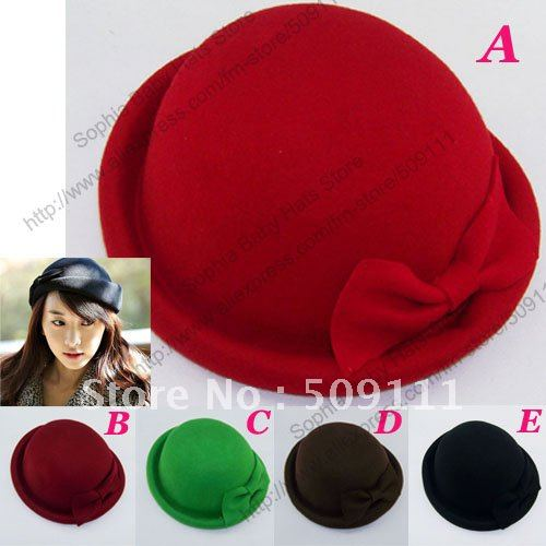 Resale Women's wool bowler hats Top hat Dome cap 100% wool Winter felt hat Ladies Party travel caps Fedoras 6pcs MZ515