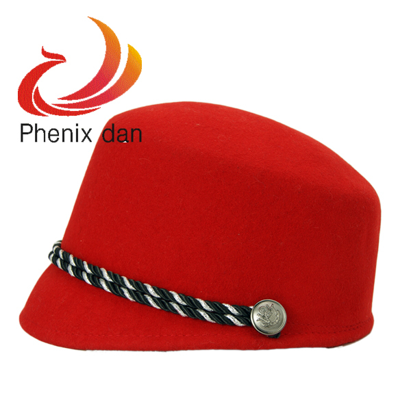 Restore Ancient Ways Equestrian Cap Wool Felt Cool Terai Female Hat Red/Coffee Free Shipping