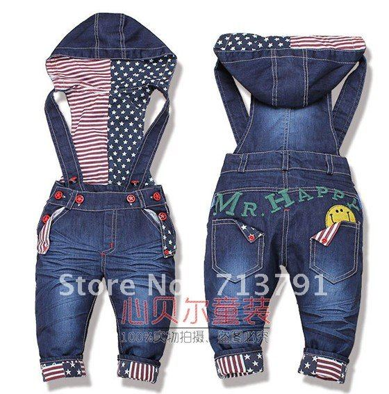 Retail- 1 pcs Baby boy/Girls Jeans  Long Trousers Fashion Kids Overall pants ,baby fishion Overall