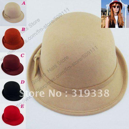 Retail 1pc popular Women's Bowler hats felt cap Dome caps Round top ladies wool hat  In stock MZ518