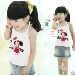 retail 2013 girls tank tops hollow out design 2-5yrs summer cool kids tank top 2pcs/lot same size 5054