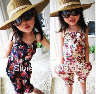 Retail Free shipping 2013 Spring & Summer New Arrival beach style girl one piece sling pants,kids pants,kids clothing