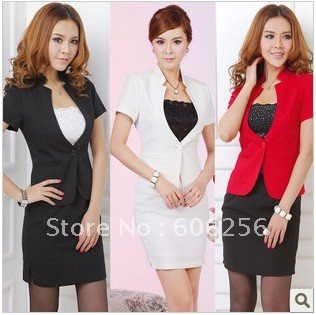 Retail- Hot sale women suit ,lady's Professional apparel ,lady 's suit set  ,women short sleeve suit++skirt,3 colors