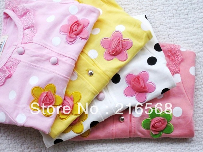Retail Hot Sweet flower girls long-sleeved coat/contracted girls coat/children clothing/baby clothes 1PCS LJ119