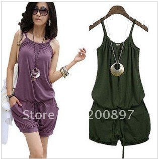 Retail lady Fashion Sleeveless jumpsuits Romper Strap Scoop 3 Colors available free shopping