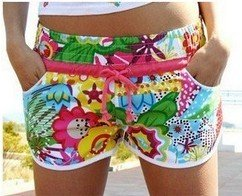 Retail & Wholesale Free shipping Sun flower, red belt . high fashion  beach shorts for women,Hawaii shorts