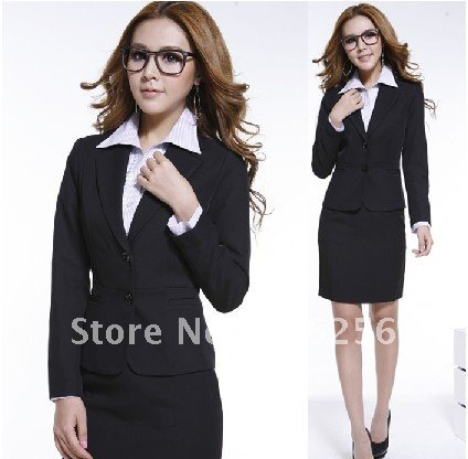 Retail-women suit ,lady's Professional suit ,women clothing ,lady 's apparel ,women black long sleeve +skirt