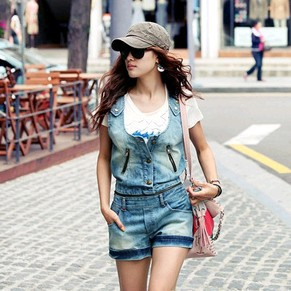 Retro casual denim Jumpsuit detachable straps women's denim rompers wholesale